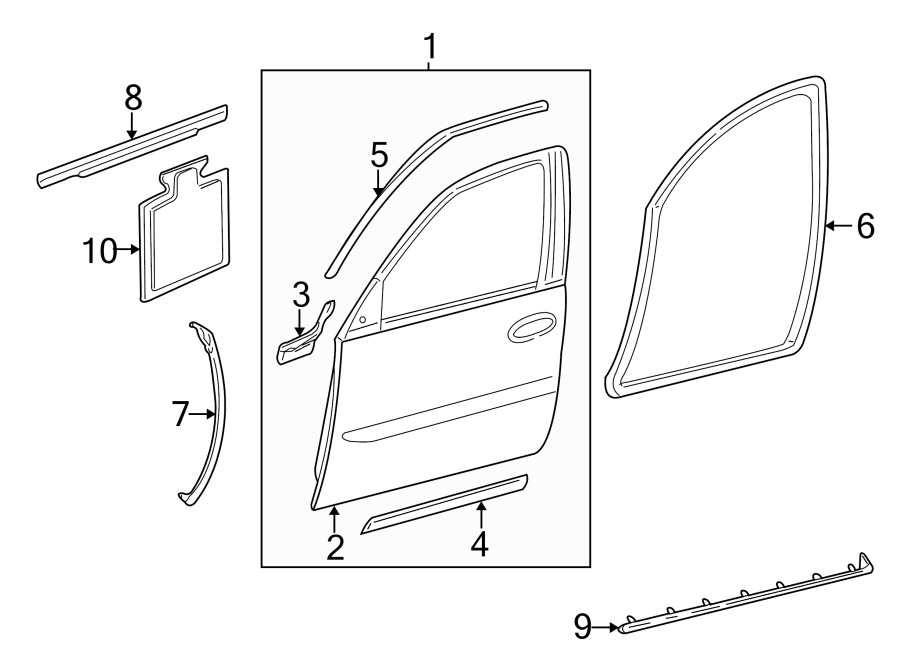 Cadillac Deville Door Outer Panel  Front  Left
