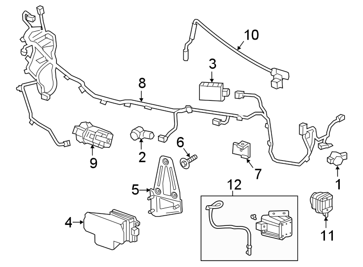 cadillac xt5 parking aid system wiring harness  w  park