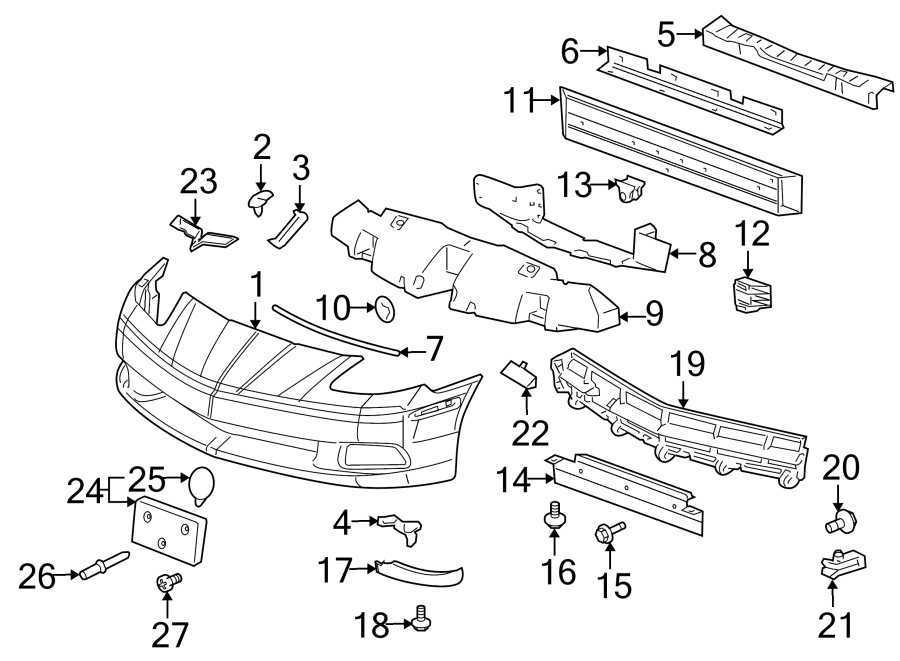 Chevrolet Corvette Bumper Cover Support Rail Bracket  Front   Base  Z06  Zr1  427  U0026 Grand